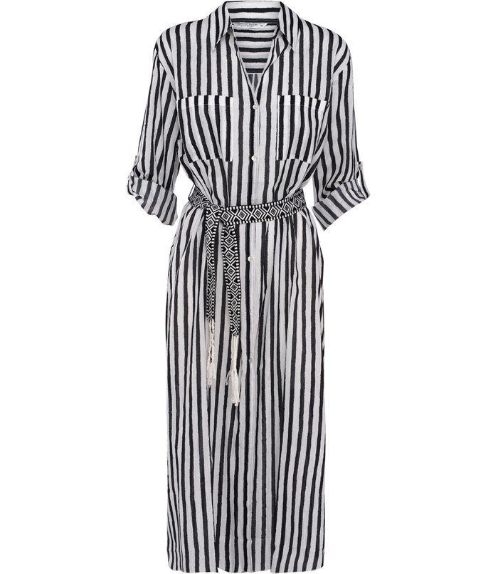 Long blouse with stripe pattern
