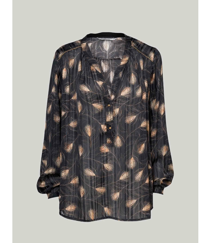 Blouse with leaf print