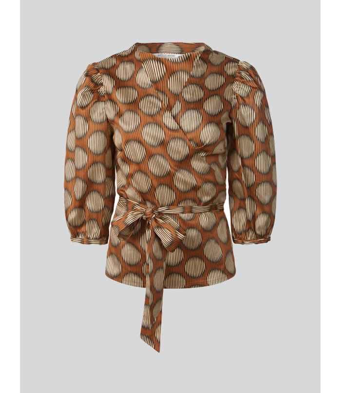 Wrap blouse with print