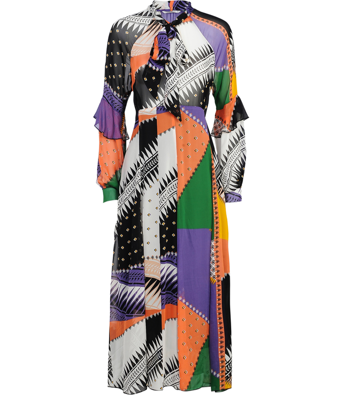 Long dress with patchwork print