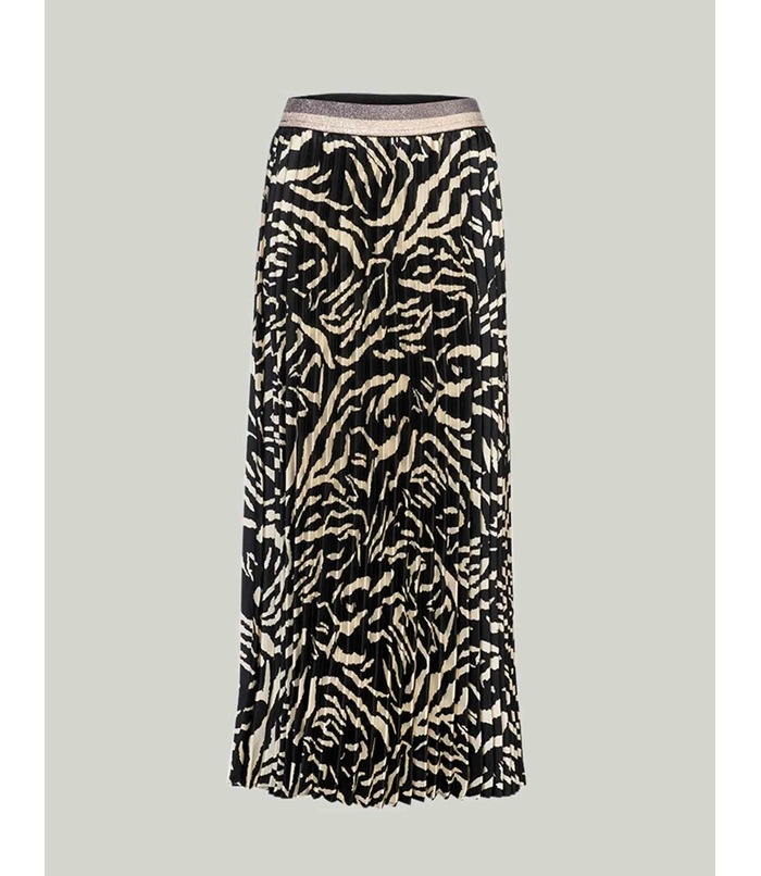 Maxi pleated skirt with print