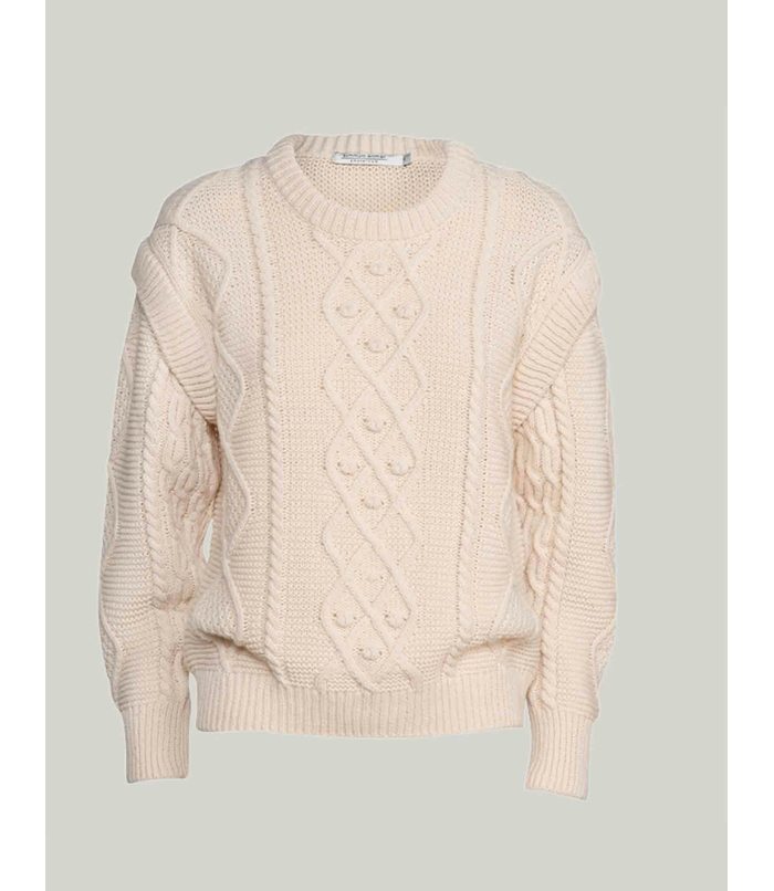 Oversized wool blend cable sweater
