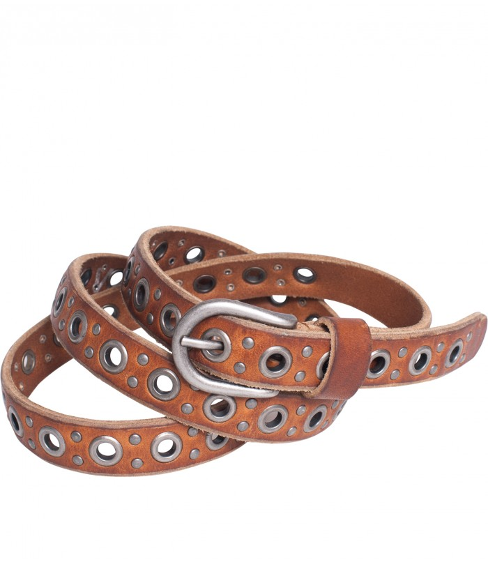 Leather eyelet belt