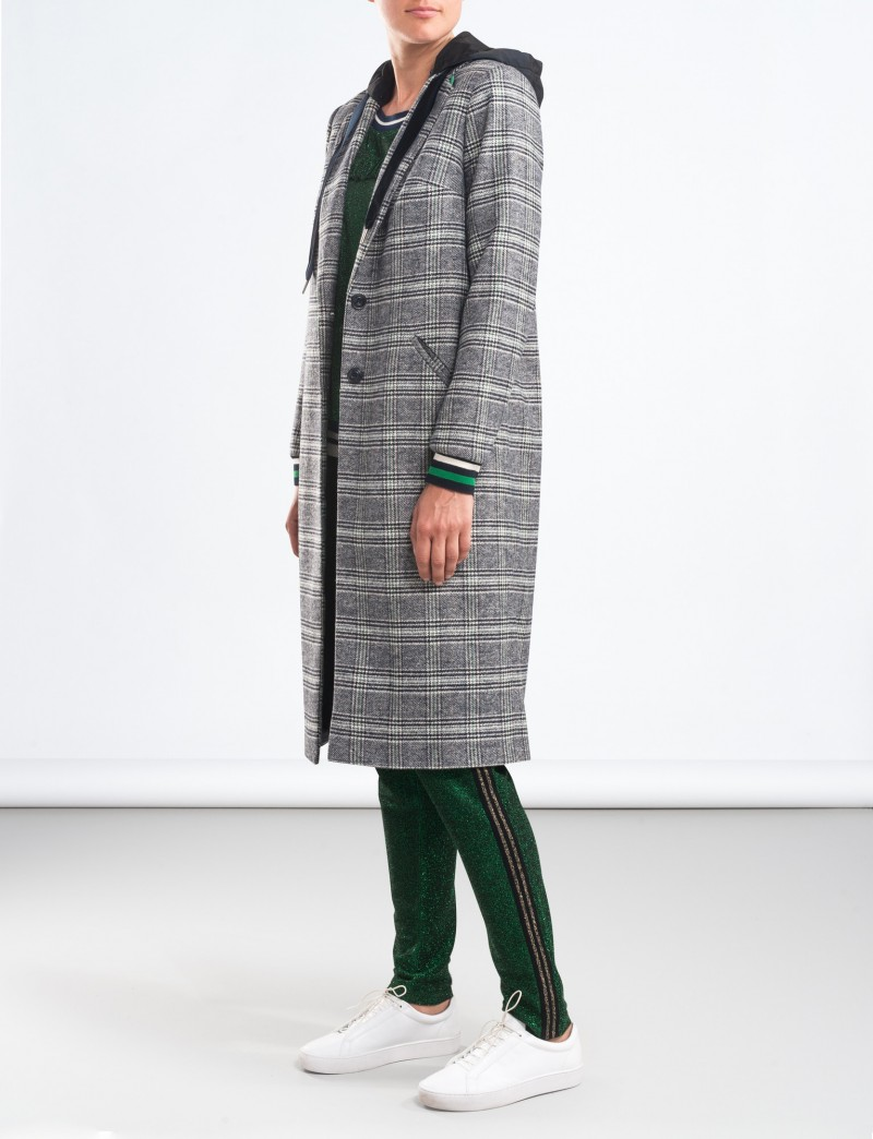 Wool checked coat